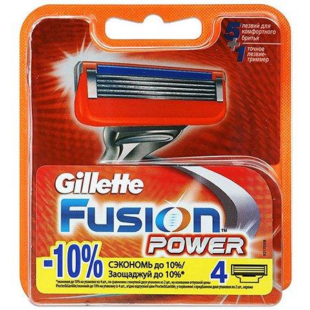 Gillette Fusion Power Сменные кассеты для бритья 4 штПены и гели для бритья<br>Подходят к бритвам Gillette Fusion Power и Gillette Fusion ProGlide Power с технологией FlexBall. Сменная кассета Gillette Fusion  Power - это технология 5-лезвийной поверхности для бритья.<br>
