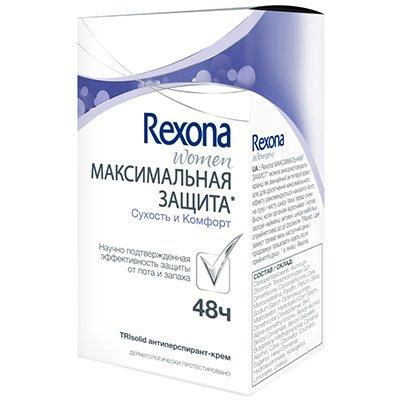Rexona Антиперспирант-крем женский Максимальная защита Сухость и комфорт 45 мл - РексонаПарфюмерия и дезодоранты<br>Дезодорант Rexona обогащен питательными веществами, благодаря чему обеспечивает надежную защиту.<br>