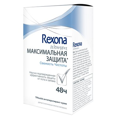 Rexona Антиперспирант-крем женский Максимальная защита Свежесть чистоты 45 мл - РексонаДезодоранты и парфюмерия<br>Дезодорант Rexona обогащен питательными веществами, благодаря чему обеспечивает надежную защиту.<br>