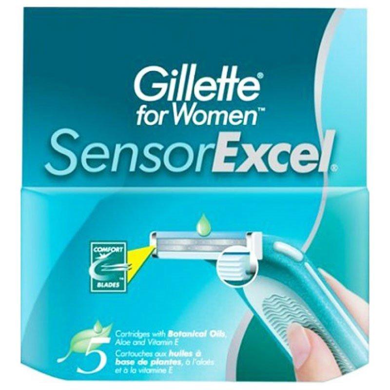 Gillette Sensor Excel Cменные кассеты для бритья для женщин 5 штДепиляция и массаж<br>Подходят к бритвам Gillette Senser Excel.  Двойное лезвие, независимо подвешенное на  пружинах, с увлажняющей полоской алоэ Вера.<br>