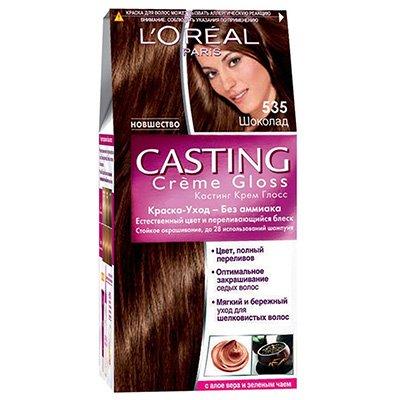 Крем-краска для волос тон 535 шоколад - LOreal Paris  Casting Creme Gloss - ЛореальКраски для волос<br>Кастинг крем глосс - первая краска-уход без аммиака от ЛОреаль Париж, которая заботится о Ваших волосах во время окрашивания, дарит им естественный цвет и переливающийся блеск.<br>