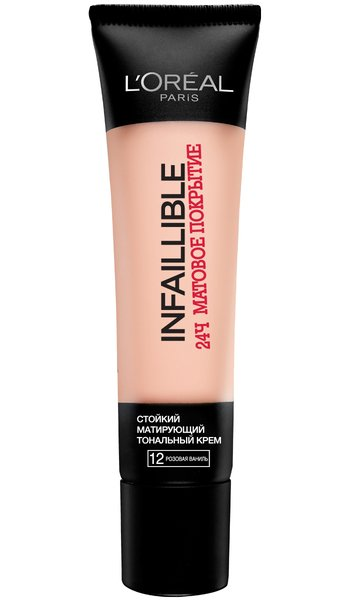Стойкий тональный крем тон 12 розовая вани LOreal Paris Infaillible - Лореаль ИнфайибльТональный крем<br>Для жирной и комбинированной кожи, а также для лета. Стойко держится 24 часа, матирует кожу, увлажняет<br>