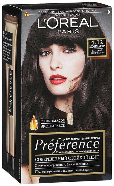 LOreal Paris  Preference Краска для волос тон 4.12 монмартр 40мл - Лореаль ПреферансКраски для волос<br>Преферанс – эталон цвета высокой стойкости.<br>