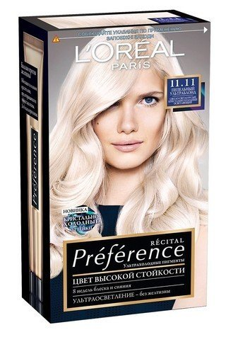 LOreal Paris  Preference Краска для волос тон 11.11 ультраблонд пепельный 40мл - Лореаль ПреферансКраски для волос<br>Легендарная краска Preference от LOreal Paris - премиальное качество окрашивания! В ее разработке приняли участие эксперты из лабораторий LOreal Paris и профессиональный колорист Кристоф Робин.<br>