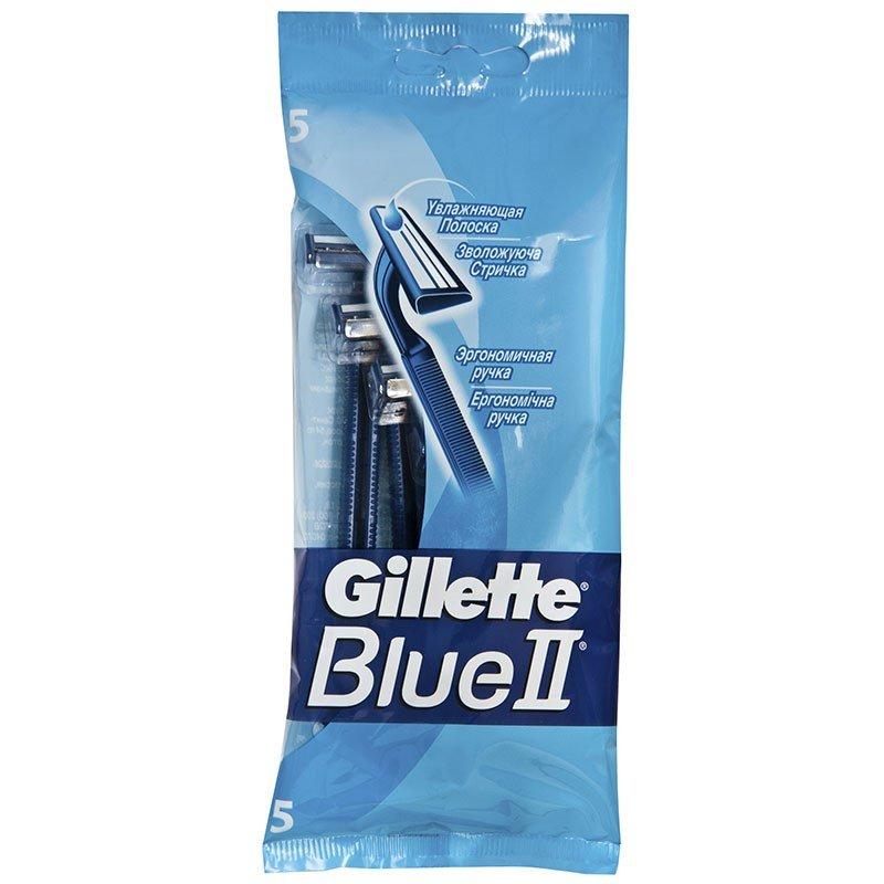 Gillette BlueII Бритвы одноразовые 5 штПены и гели для бритья<br>2 лезвия с хромовым покрытием и полоска-индикатор с алоэ Вера для чистого бритья и увлажнения кожи<br>
