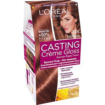 Крем-краска для волос тон 724 карамель - LOreal Paris  Casting Creme Gloss - ЛореальКраски для волос<br>Кастинг крем глосс - первая краска-уход без аммиака от ЛОреаль Париж, которая заботится о Ваших волосах во время окрашивания, дарит им естественный цвет и переливающийся блеск.<br>