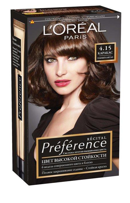 LOreal Paris  Preference Краска для волос тон 4.15 каракас темно-каштановый  40мл - Лореаль ПреферансКраски для волос<br>Лореаль Преферанс - эталон цвета высокой стойкости. Закрашивает седые волосы, держит цвет до 30 процедур мытья волос в зависимости от шампуня.<br>