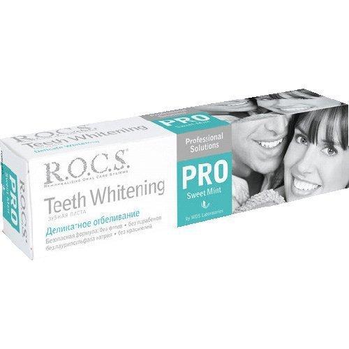 Рокс PRO.Зубная паста Деликатное Отбеливание Sweet Mint 135 гр - R.O.C.S.Гигиена полости рта<br>Предназначена для осветления зубов и придания им блеска, поддержания белизны улыбки, укрепления эмали и десен.<br>