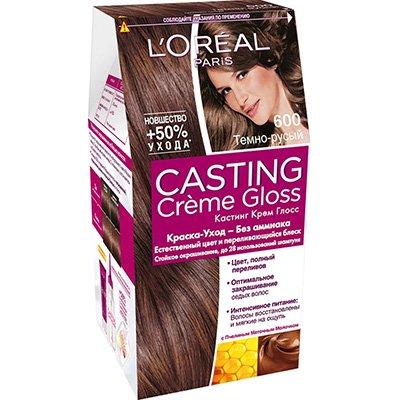 Крем-краска для волос тон 600 темно-русый - LOreal Paris  Casting Creme Gloss - ЛореальКраски для волос<br>Кастинг крем глосс - первая краска-уход без аммиака от ЛОреаль Париж, которая заботится о Ваших волосах во время окрашивания, дарит им естественный цвет и переливающийся блеск.<br>