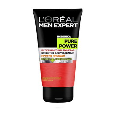 Гель для умывания Пюр Пауэр Вулкан 150мл - LOreal Paris  Men Expert - ЛореальШампуни и гели для душа<br>1-я линейка средств только для мужчин по уходу за проблемной кожей.<br>