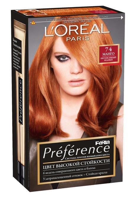 LOreal Paris  Preference Краска для волос 74 манго 40мл - Лореаль ПреферансКраски для волос<br>Откройте крем-краску Преферанс Ферия с технологией трехмерного усилителя цвета.<br>