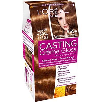 Крем-краска для волос тон 6.354 карамельный - LOreal Paris  Casting Creme Gloss - ЛореальКраски для волос<br>Кастинг крем глосс - первая краска-уход без аммиака от ЛОреаль Париж, которая заботится о Ваших волосах во время окрашивания, дарит им естественный цвет и переливающийся блеск.<br>
