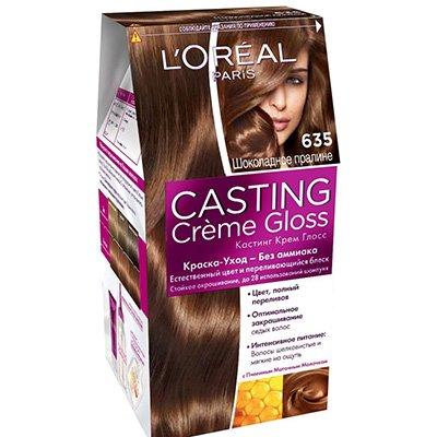 Крем-краска для волос тон 635 Шоколадный пралин - LOreal Paris  Casting Creme Gloss - ЛореальКраски для волос<br>Краска-уход Casting Creme Gloss подарит естественный цвет и переливающийся блеск волос.<br>
