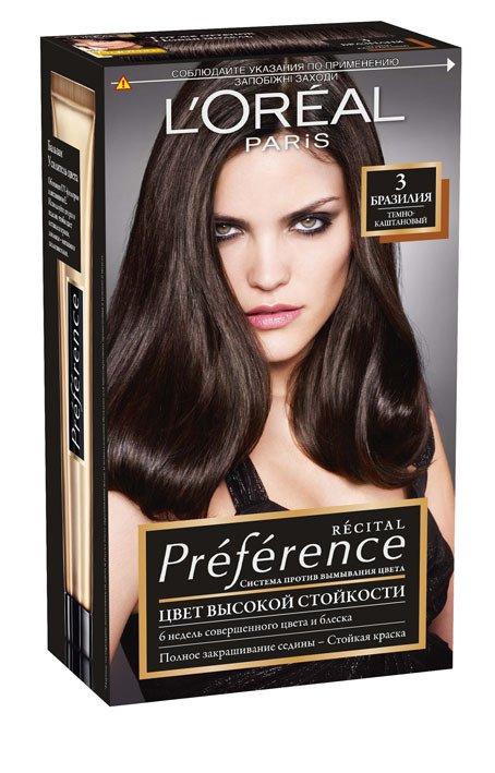 LOreal Paris  Preference Краска для волос тон 3 бразилия 40мл - Лореаль ПреферансКраски для волос<br>Лореаль Преферанс - эталон цвета высокой стойкости. Закрашивает седые волосы, держит цвет до 30 процедур мытья волос в зависимости от шампуня.<br>
