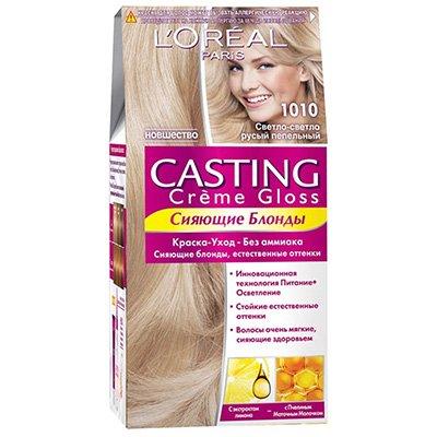 Крем-краска для волос тон 1010 светлый светло-русый пепельный - LOreal Paris  Casting Creme Gloss - ЛореальКраски для волос<br>Кастинг крем глосс - первая краска-уход без аммиака от ЛОреаль Париж, которая заботится о Ваших волосах во время окрашивания, дарит им естественный цвет и переливающийся блеск.<br>