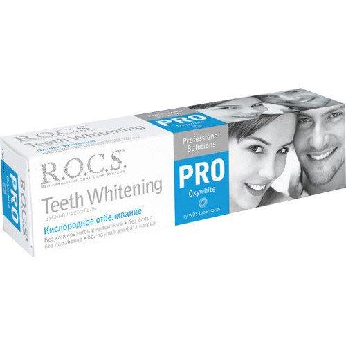 Рокс PRO.Зубная паста Кислородное Отбеливание 60 гр - R.O.C.S.Гигиена полости рта<br>Паста имеет очень низкий показатель абразивности, поэтому может применяться как с обычной, так и с электрической зубной щеткой.<br>