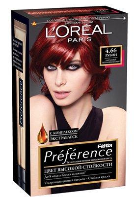 LOreal Paris  Preference Краска для волос тон 4.66 Рубин - Лореаль ПреферансКраски для волос<br>Лореаль Преферанс - эталон цвета высокой стойкости. Закрашивает седые волосы, держит цвет до 30 процедур мытья волос в зависимости от шампуня.<br>