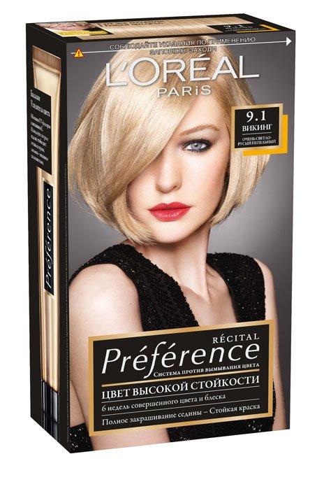 LOreal Paris  Preference Краска для волос тон 9.1 викинг 40мл - Лореаль ПреферансКраски для волос<br>Лореаль Преферанс - эталон цвета высокой стойкости. Закрашивает седые волосы, держит цвет до 30 процедур мытья волос в зависимости от шампуня.<br>