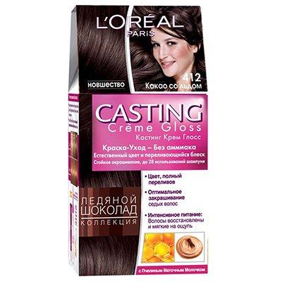 Крем-краска для волос тон 412 какао со льдом - LOreal Paris  Casting Creme Gloss - ЛореальКраски для волос<br>Кастинг крем глосс - первая краска-уход без аммиака от ЛОреаль Париж, которая заботится о Ваших волосах во время окрашивания, дарит им естественный цвет и переливающийся блеск.<br>