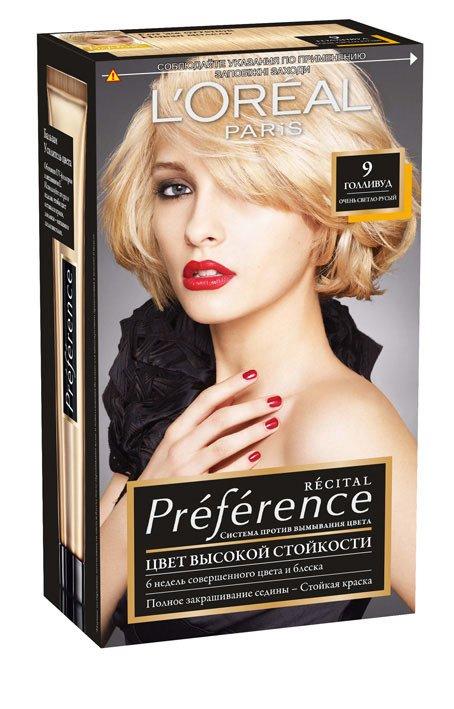 LOreal Paris  Preference Краска для волос тон 9 голливуд 40мл - Лореаль ПреферансКраски для волос<br>Лореаль Преферанс - эталон цвета высокой стойкости. Закрашивает седые волосы, держит цвет до 30 процедур мытья волос в зависимости от шампуня.<br>