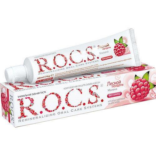 Рокс Зубная паста Малина 74 гр - R.O.C.S.Гигиена полости рта<br>Полное отсутствие мяты для тех, кто предпочитает легкий ароматный ягодный шлейф резким мятным вкусам.<br>