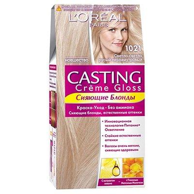 Крем-краска для волос тон 1021 светло-светло русый перламутровый - LOreal Paris  Casting Creme Gloss - ЛореальКраски для волос<br>Кастинг крем глосс - первая краска-уход без аммиака от ЛОреаль Париж, которая заботится о Ваших волосах во время окрашивания, дарит им естественный цвет и переливающийся блеск.<br>