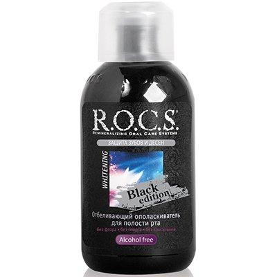 Рокс Ополаскиватель отбеливающий для полости рта Black Edition 400мл - R.O.C.S.Гигиена полости рта<br>Ополаскиватель отбеливает эмаль зубов на поверхности и в глубине благодаря свойствам активного кислорода.<br>