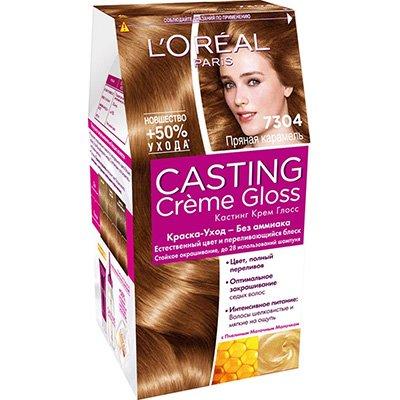 Крем-краска для волос тон 7.304 прянная карамель - LOreal Paris  Casting Creme Gloss - ЛореальКраски для волос<br>Кастинг крем глосс - первая краска-уход без аммиака от ЛОреаль Париж, которая заботится о Ваших волосах во время окрашивания, дарит им естественный цвет и переливающийся блеск.<br>