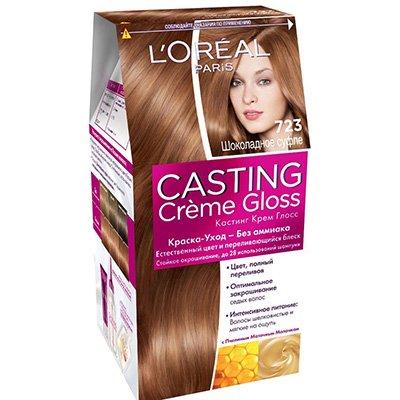 Крем-краска для волос тон 723 Шоколадное суфле - LOreal Paris  Casting Creme Gloss - ЛореальКраски для волос<br>Краска-уход Casting Creme Gloss подарит естественный цвет и переливающийся блеск волос.<br>