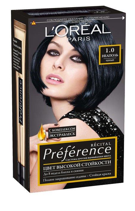 LOreal Paris  Preference Краска для волос тон 1.0 неаполь черный 40мл - Лореаль ПреферансКраски для волос<br>Лореаль Преферанс - эталон цвета высокой стойкости. Закрашивает седые волосы, держит цвет до 30 процедур мытья волос в зависимости от шампуня.<br>