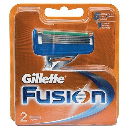 Gillette Fusion Сменные кассеты для бритья 2 штПены и гели для бритья<br>5 лезвий, увлажняющая полоска-индикатор с алоэ Вера. Острое лезвие-триммер аккуратно бреет даже сложные участки висков и шеи<br>