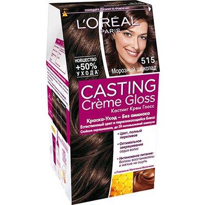 Крем-краска для волос тон 515 морозный шоколад - LOreal Paris  Casting Creme Gloss - ЛореальКраски для волос<br>Кастинг крем глосс - первая краска-уход без аммиака от ЛОреаль Париж, которая заботится о Ваших волосах во время окрашивания, дарит им естественный цвет и переливающийся блеск.<br>