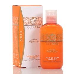 Barex Olioseta Oro del Marocco After Sun Cream-Shampoo - Крем-бессульфатный шампунь после загара с маслом арганы и маслом макадамии 250 млМыло и гели для душа<br>Защищает волосы от длительного пребывания на солнце, восстанавливает структуру и блеск. Очищает от песка, соли и хлора<br>