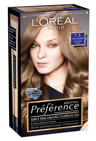 LOreal Paris  Preference Краска для волос тон 7.1 исландия 40мл - Лореаль ПреферансКраски для волос<br>Легендарная краска Preference от LOreal Paris - премиальное качество окрашивания! В ее разработке приняли участие эксперты из лабораторий LOreal Paris и профессиональный колорист Кристоф Робин.<br>