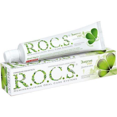 Рокс Зубная паста Двойная Мята 74 гр - R.O.C.S.Гигиена полости рта<br>Контрастный душ, двойной эспрессо, динамичная музыка… Еще одно средство взбодриться и начать утро с хорошего настроения - зубная паста R. O. C. S. Энергия утра, которая прекрасно освежает и гарантирует Вам длительное ощущение чистоты.<br>