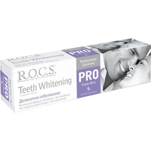 Рокс Зубная паста PRO.Деликатное Отбеливание Fresh Mint 135 гр - R.O.C.S.Гигиена полости рта<br>Предназначена для осветления зубов и придания им блеска, поддержания белизны улыбки, укрепления эмали и десен.<br>