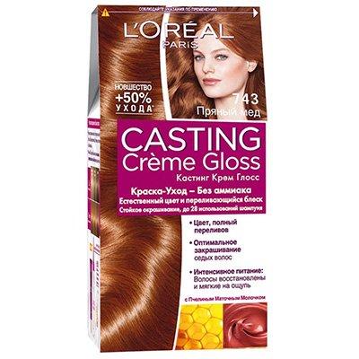 Крем-краска для волос тон 743 пряный мед - LOreal Paris  Casting Creme Gloss - ЛореальКраски для волос<br>Кастинг крем глосс - первая краска-уход без аммиака от ЛОреаль Париж, которая заботится о Ваших волосах во время окрашивания, дарит им естественный цвет и переливающийся блеск.<br>