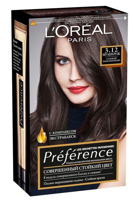 LOreal Paris  Preference Краска для волос тон 3.12 мулен руж 40мл - Лореаль ПреферансКраски для волос<br>Преферанс – эталон цвета высокой стойкости.<br>