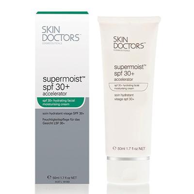 Skin Doctors Supermoist™ SPF 30+ Accelerator, увлажняющий, солнцезащитный крем для лица, 50 мл - Скин ДокторсКремы для лица, рук и глаз<br>Увлажняющий, солнцезащитный крем для лица с мощным фактором защиты SPF30. Предохраняет от фотостарения, питает, придает гладкость и нежность<br>