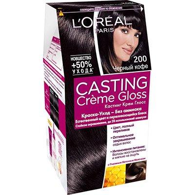 Крем-краска для волос тон 200 черный кофе - LOreal Paris  Casting Creme Gloss - ЛореальКраски для волос<br>Кастинг крем глосс - первая краска-уход без аммиака от ЛОреаль Париж, которая заботится о Ваших волосах во время окрашивания, дарит им естественный цвет и переливающийся блеск.<br>