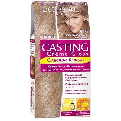 Крем-краска для волос тон 910 очень светлый светло-русый пепельный - LOreal Paris  Casting Creme Gloss - ЛореальКраски для волос<br>Кастинг крем глосс - первая краска-уход без аммиака от ЛОреаль Париж, которая заботится о Ваших волосах во время окрашивания, дарит им естественный цвет и переливающийся блеск.<br>