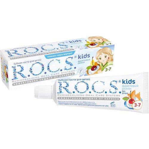 Рокс Зубная паста для детей Фруктовый рожок без фтора 45 гр - R.O.C.S.Гигиена полости рта<br>Фруктовое мороженое — очень привлекательный для ребёнка вкус. И развлекает, и защищает от кариеса одновременно!<br>