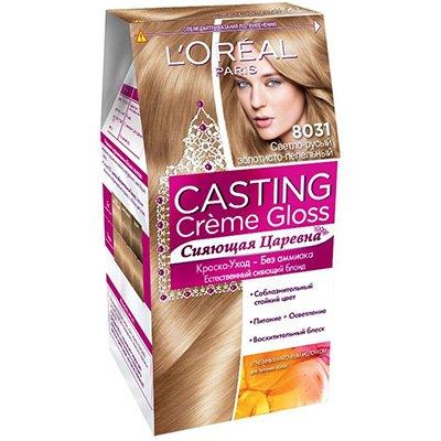 Крем-краска для волос тон 8031 Cветло-русый золотисто-пепельный - LOreal Paris  Casting Creme Gloss - ЛореальКраски для волос<br>Крем-краска для волос тон Casting creme gloss – это ухаживающая крем-краска для волос без аммиака.<br>