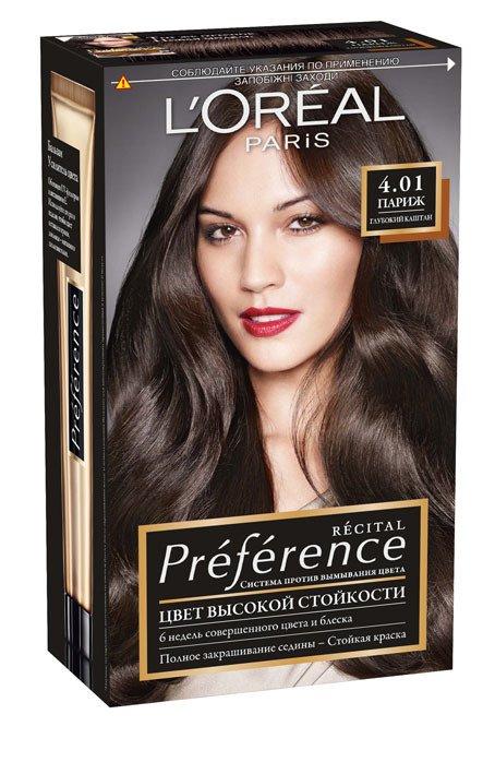 LOreal Paris  Preference Краска для волос тон 4.01 париж глубокий каштан  40мл - Лореаль ПреферансКраски для волос<br>Лореаль Преферанс - эталон цвета высокой стойкости. Закрашивает седые волосы, держит цвет до 30 процедур мытья волос в зависимости от шампуня.<br>