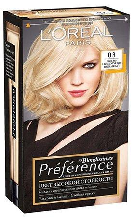 L'Oreal Paris Preference Краска для волос тон 03 светлый светло-русый пепельный 40 мл - Лореаль Преферанс
