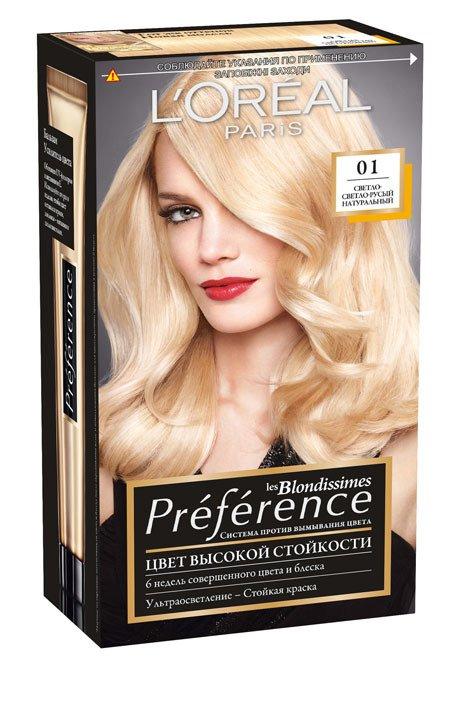 L'Oreal Paris Preference Краска для волос тон 01 светлый светло-русый натуральный 40мл - Лореаль Преферанс